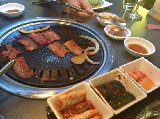 Koba: Korean meat on grill at table