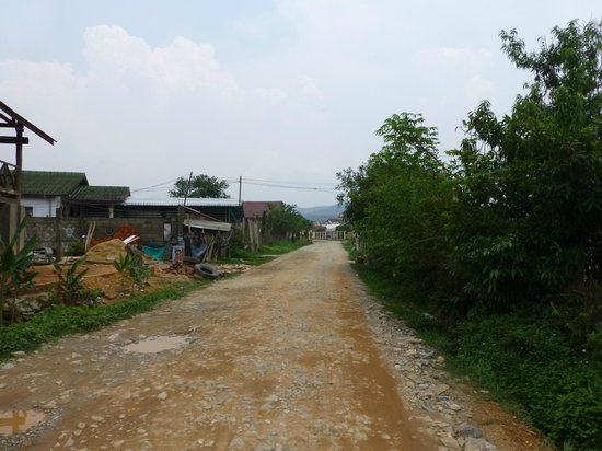 The Hillside Residence: unpaved road leading to main road