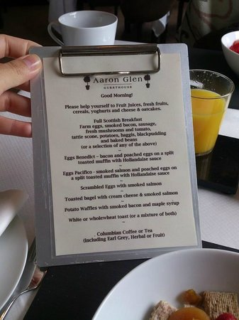 Aaron Glen: Breakfast menu.