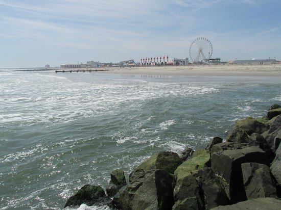 Ocean City Boardwalk: Looking at the boardwalk from the end of the rocks