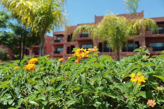 SENTIDO Kenzi Menara Palace: fleurs et jardins autour des bâtiments