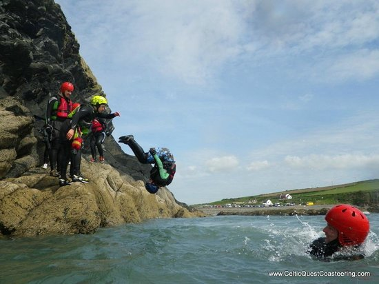 Somersault Jump with Celtic Quest Coasteering, at Abereiddy Beach and the Blue Lagoon, Pembrokes