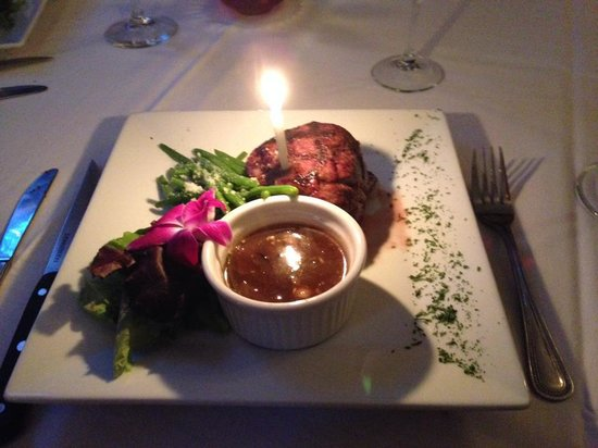 Tony Stella's Encore : My steak dinner with birthday candle!