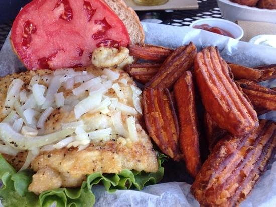 Camellia Street Grill: grilled grouper sandwich and sweet potato fries