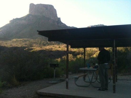 Big Bend National Park: Sun rising on Campsite # 60 in Chisos Basin Campground