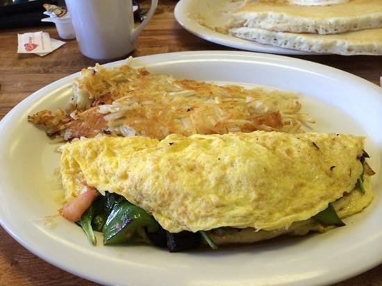 Hawaiian Style Cafe : huge veggie omelette w/hash browns & pancakes