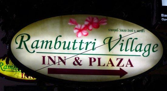Rambuttri Village Inn & Plaza: Rambuttri Village  - sign
