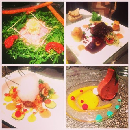Le Caveau des Lys: From top left to bottom right: Beef carpaccio, beef steak, gambas, chocolate mousse