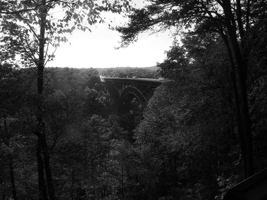 New River Gorge: Black and white view of the bridge