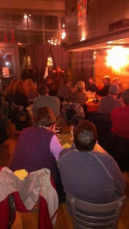 Slide Inn: A picture from toward the back of the room taken during Comedian Amanda Arnold's set