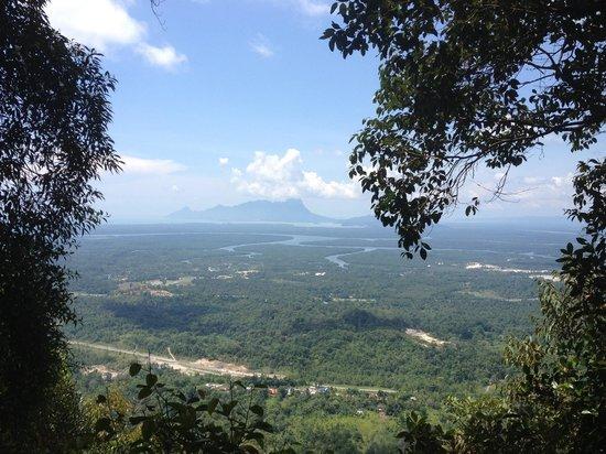 Kubah National Park : Atop Selang Trial view tower looking north at Mt. Santubong.