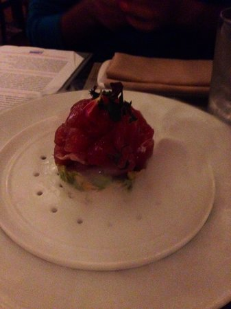 Josselin's Tapas Bar & Grill: Ahi sushi , avocado cucumber and the best fish, amazing presentation with dry ice