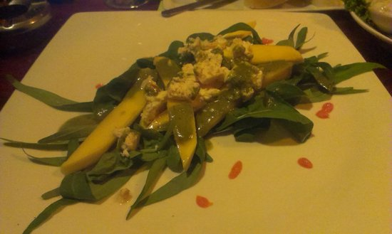 Red Snapper: rocket salad with feta cheese mango and jalapeno dressing