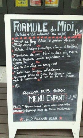 Restaurant l'Atelier de Nicolas : Menu du jour (6.5.2014)