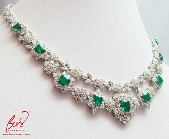 Gorgeously Beautiful Columbian Emerald Necklace Hand Made By Bee S Diamonds Hong Kong