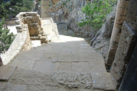 Lindos : l'escalier de l'acropole