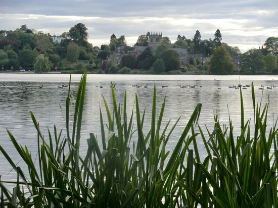 Ellesmere, UK: View from the far side of the mere, looking back to the town