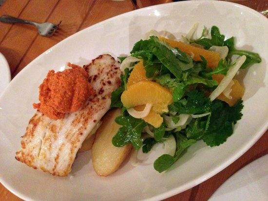 Hallam's Waterfront Restaurant: grill blue eye trevalla, the dressing was very good and the side salad was extremely good as wel