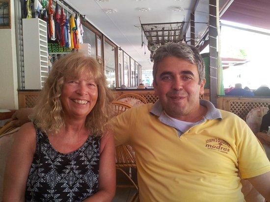 Joseph's Restaurant: Yvonne and Simon on our last day.