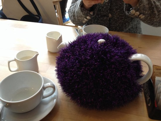 Tilt Coffee House: Purple fluffy tea cosy!