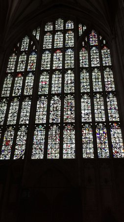 Winchester Cathedral: Remains of the old stained glass placed into these windows