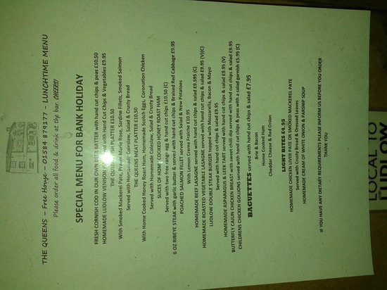 The Queens: Bank Holiday - Lunchtime Menu