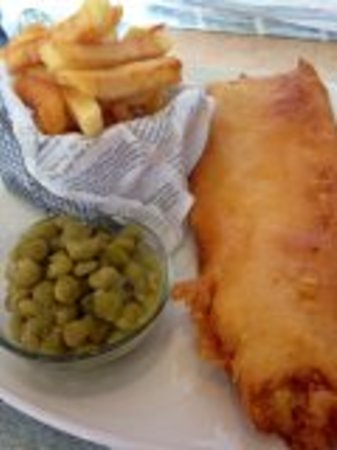 Fish Tram Chips: Hake, chips and peas