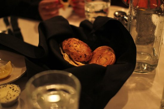 Yummy bread basket at St. Elmo Steak House