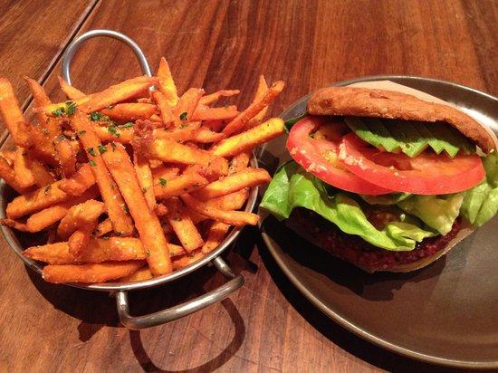 Roam Artisan Burgers: Quinoa Burger on Free Gluten Bread