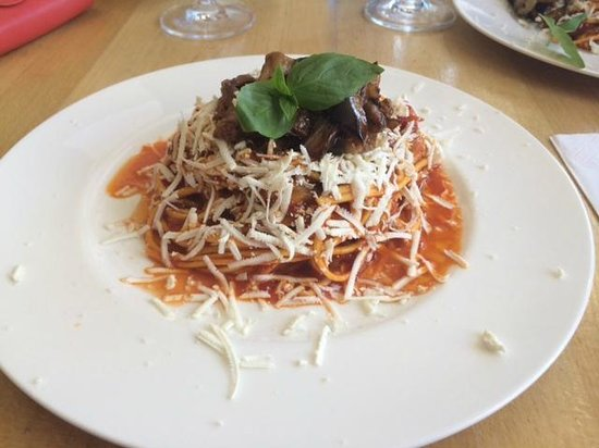 Ciao Belli: Pasta with eggplant, fresh tomato sauce and salted ricotta