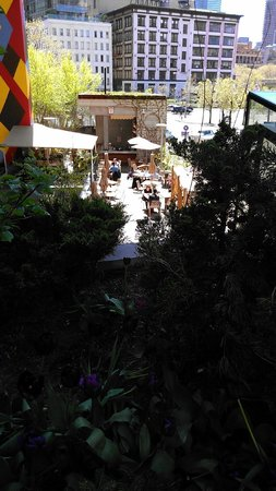 David Burke Kitchen: View of the garden from the upper perch.