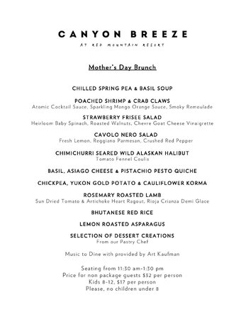 Canyon Breeze Restaurant at Red Mountain Resort: Mother's Day Brunch Menu 2014