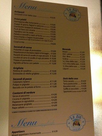 Trattoria Le Zie - Cucina Casareccia: menu