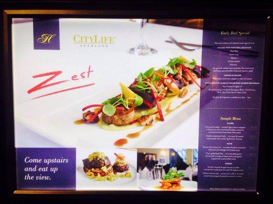 CityLife Auckland: restaurant menu