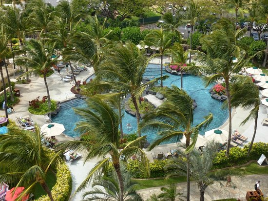 Marriott's Ko Olina Beach Club: View of 1 of several pools from our room