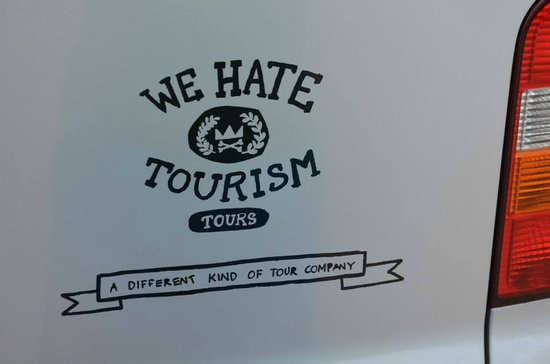 We Hate Tourism Tours: The side of their van
