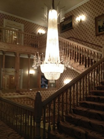 The Chester Grosvenor: hallway outside the room with an exquisite chandelier