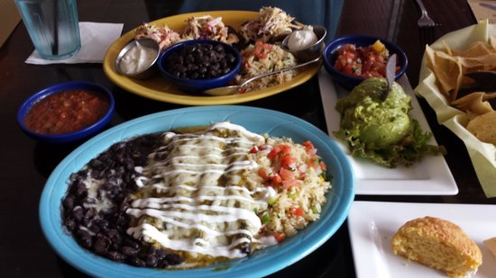 Blue Corn Harvest Bar and Grill: Chicken Enchiladas, Guacamole, Tostadas