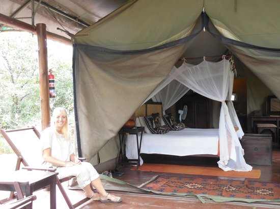 Thula Thula Exclusive Private Game Reserve and Safari Lodge: Our covered porch in front of our tent