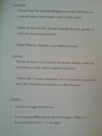 Arenberg : Dessert menu