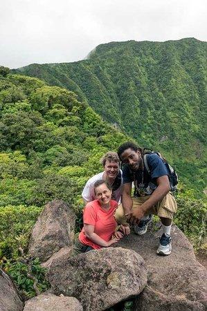 Mount Liamuiga : Our awesome guide, Al, my husband, and I