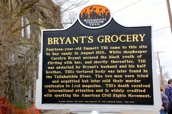 Glendora, MS: Bryant's Grocery Historical Marker acknowledging the ET Story as beginning the Civil Rights Move