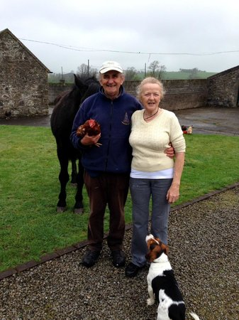 Kilcannon House Bed & Breakfast: Pat & Gertie with Jeff the horse, Mack the dog and Henrietta the chicken