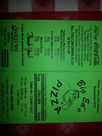 Big Ed's Pizza: Front of the menu (the size of a business card)