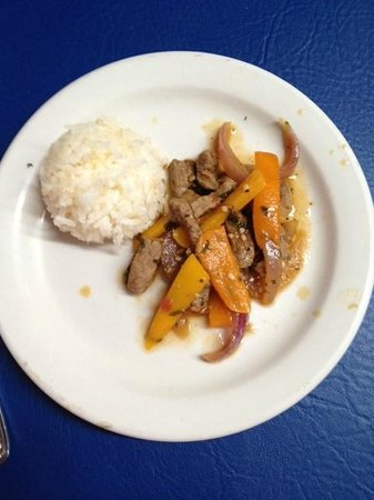 Ceviche & Tapas Peruvian Dining : Strips of steak with a white rice