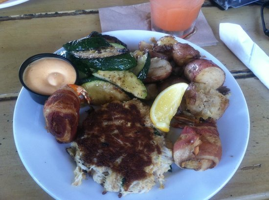 Folly Beach Crab Shack : Crab Cake Duo w Bacon Wrapped Shrimp