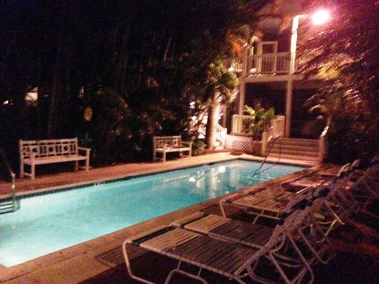 Ambrosia Key West Tropical Lodging: View of lap pool at night