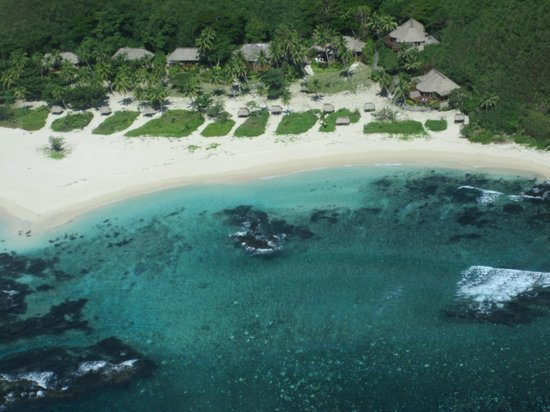 Yasawa Island Resort and Spa: View of the resort from the plane on our way in.
