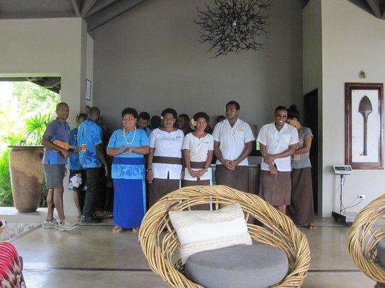 Yasawa Island Resort and Spa: The staff singing goodbye.