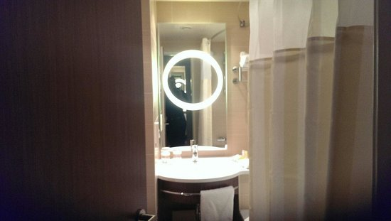 Hilton Garden Inn Frankfurt Airport: Well lit and chic. I loved the bathroom.